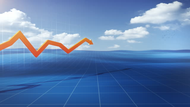 3D financial graph, in a stylized outdoor environment video