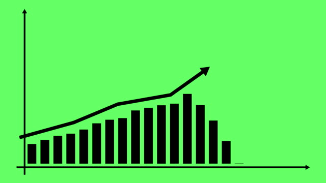 Financial growth chart with trend line graph. Growth bar chart of economy. Vector illustration isolated on green background.