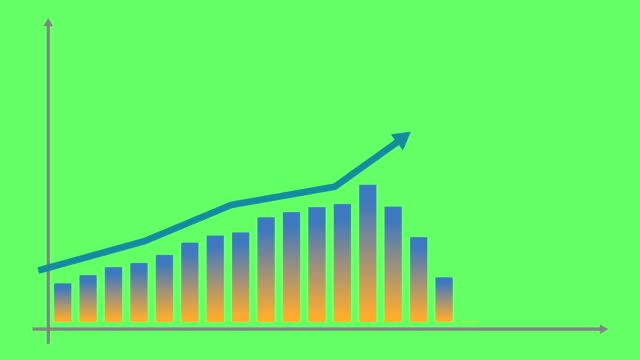 Financial growth chart with trend line graph. Growth bar chart of economy. Vector illustration isolated on green background. Financial growth chart with trend line graph. Growth bar chart of economy. Vector illustration isolated on green background. growth icon stock videos & royalty-free footage