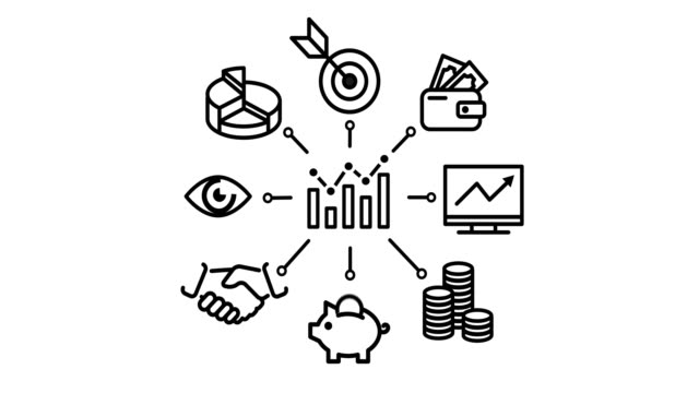 financial icon set 2D animation lots of financial icons icon stock videos & royalty-free footage