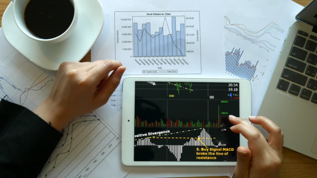 Financial looking her business project and analyzing market data, 4k(UHD) video