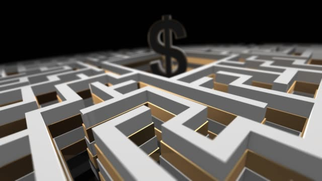 Financial money maze labyrinth of complex financial wealth creation