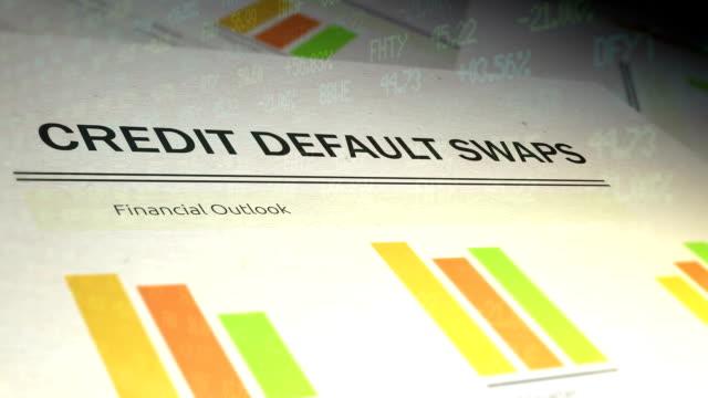Financial Paperwork with Stock Market Ticker overlay - Credit Default Swaps video