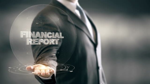 Financial Report with hologram businessman concept video