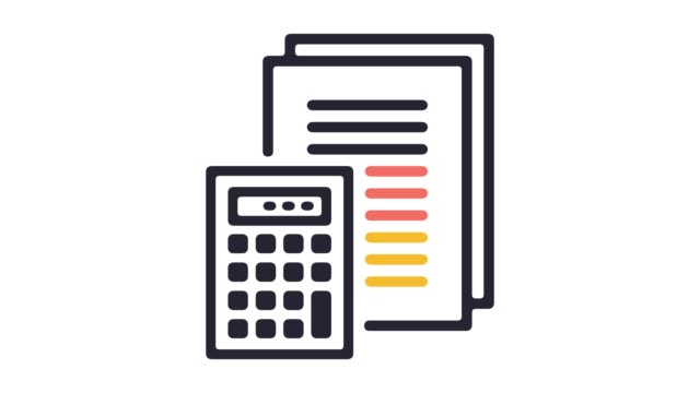 Financial Statement Line Icon Animation with Alpha