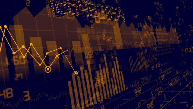 Financial stock, bars and numbers video