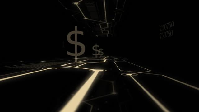 vídeos de stock e filmes b-roll de financial symbols of dollar in the center of digital background. - aproximar imagem