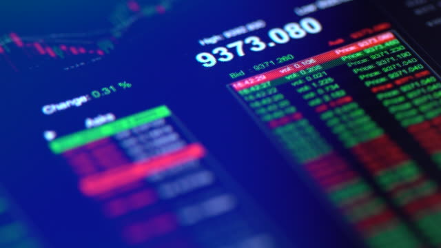 Financial trading chart at digital display close-up