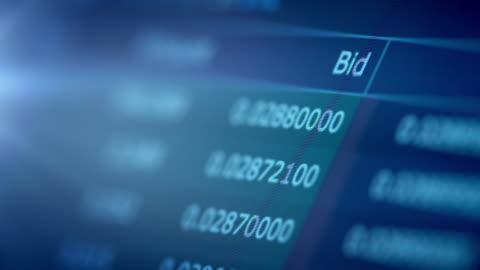 finanzielle trading-chart auf digitalanzeige - blockchain stock-videos und b-roll-filmmaterial