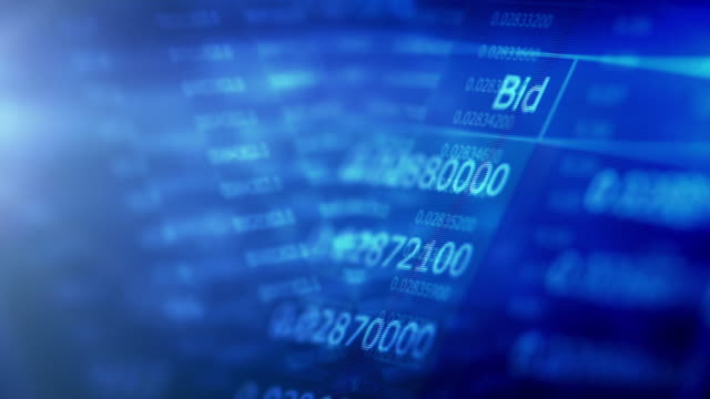 Financial trading chart at digital display video