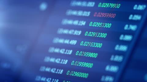 finanzielle trading-chart auf digitalanzeige - bitcoin stock-videos und b-roll-filmmaterial