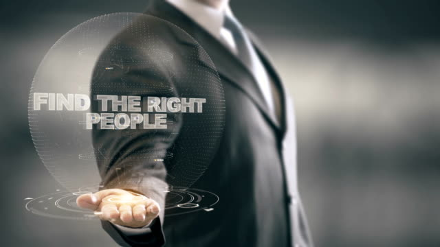 Find The Right People with hologram businessman concept