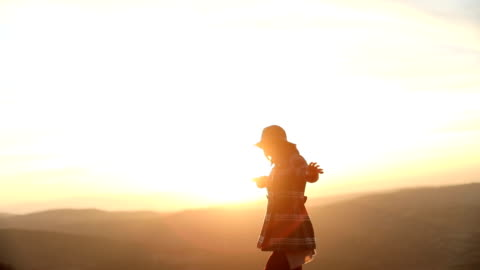 Finding inner peace Young woman with hat enjoying nature,rear view boho stock videos & royalty-free footage