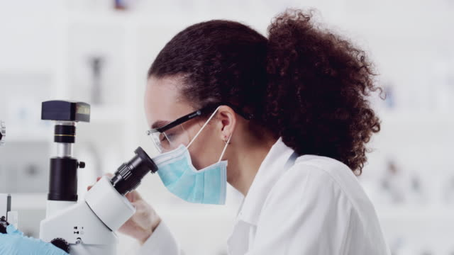 Finding the cure 4k video footage of an attractive young female scientist looking through a microscope while working in a laboratory biochemistry stock videos & royalty-free footage