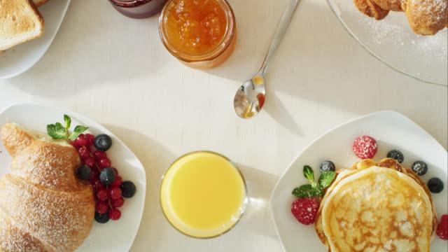 Finely prepared breakfast table