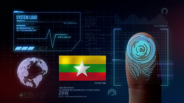 finger print biometric scanning identification system. myanmar nationality - naypyidaw video stock e b–roll