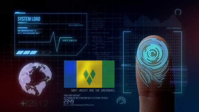 finger print biometric scanning identification system. saint vincent and the grenadines nationality - kingstown video stock e b–roll