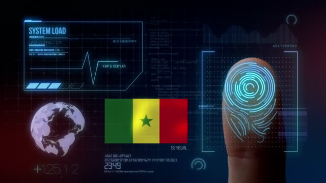 finger print biometric scanning identification system. senegal nationality - dakar video stock e b–roll