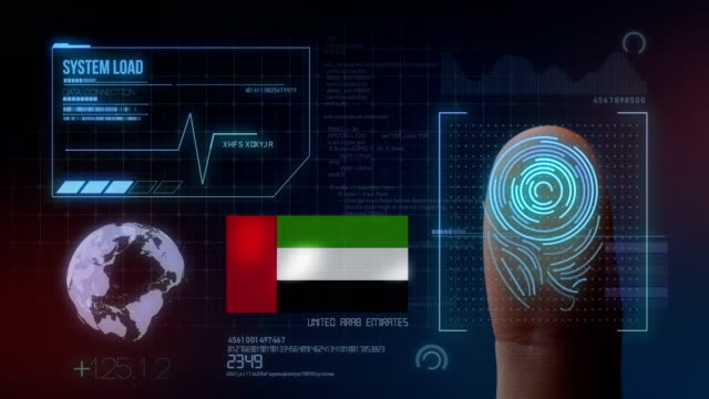 finger print biometric scanning identification system. united arab emirates nationality - uae flag filmów i materiałów b-roll