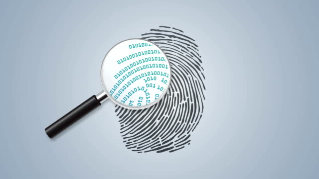 Finger print with magnifying glass and binary code video