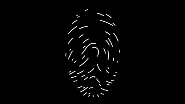指紋分析ラインアイコンアニメーション - なりすまし犯罪点の映像素材/bロール