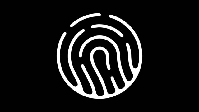 Fingerprint Analysis Line Icon Animation with Alpha