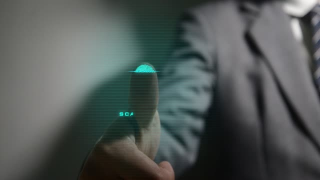 vídeos y material grabado en eventos de stock de biométricos de huella digital - escáner plano