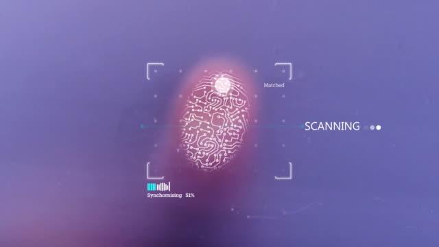 4K Fingerprint Identification Access Denied Futuristic Biometric Fingerprint Security Scanner encryption stock videos & royalty-free footage