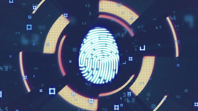 fingerprint investigation, network security, cyber security, digital protection, computer hack background - censura video stock e b–roll