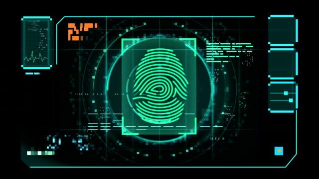 Fingerprint iris Scan data interface green video
