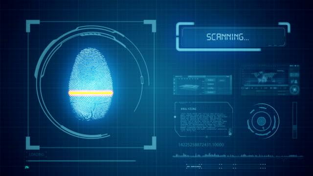 vídeos y material grabado en eventos de stock de escáner de huellas digitales-acceso denegado - escáner plano