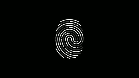 Fingerprint scan icon animation Fingerprint scan icon animation on black background with alpha channel. Futuristic Touch ID technology of mobile security for unlock device identity stock videos & royalty-free footage