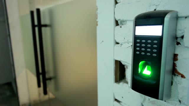 fingerprint scanner for security on the wall of entrance. video