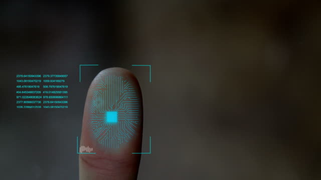 vídeos de stock e filmes b-roll de fingerprint scanning futuristic technology , with circuit digital security system. - segurança