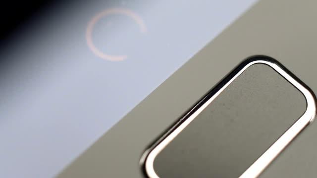 Fingerprint security screen unlocking on a smartphone. video