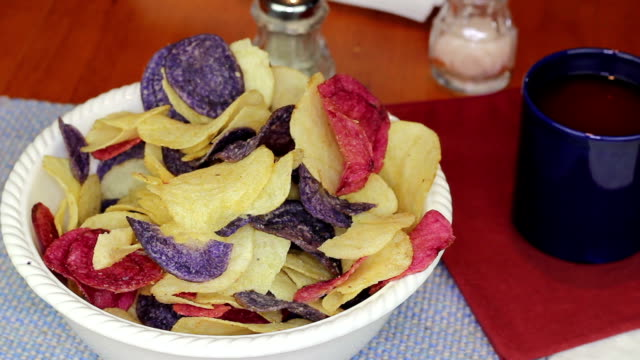Fingers Choosing Colorful Potato Chips video