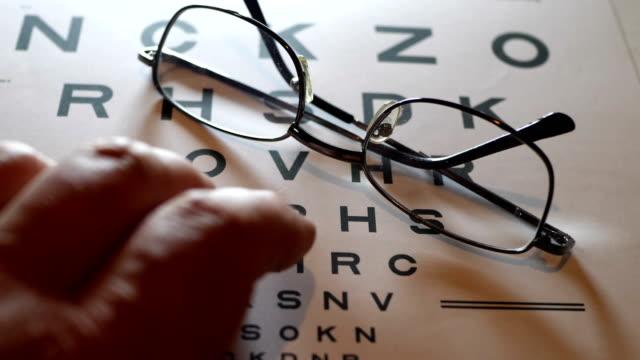 finger tippen auf eye vision chart - augenoptiker stock-videos und b-roll-filmmaterial