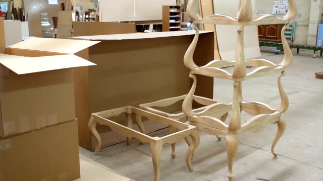 Finished furniture at the woodworking and furniture plant video