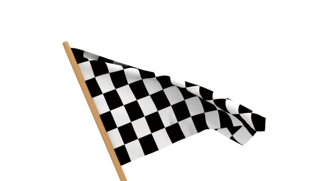 finishing checkered flag on white background. 3D image render