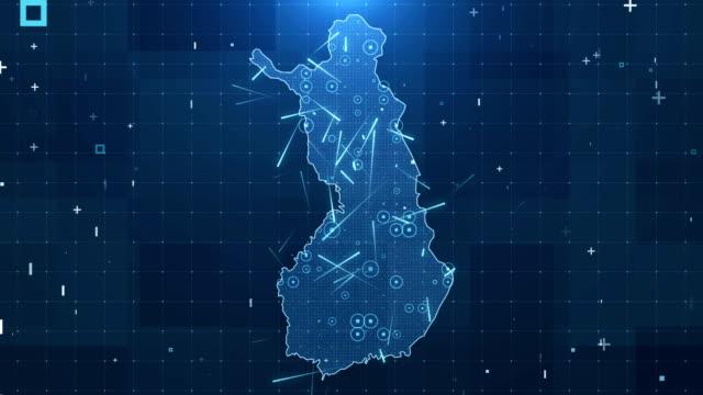 finland karta anslutningar fullständiga uppgifter bakgrund 4k - finland bildbanksvideor och videomaterial från bakom kulisserna