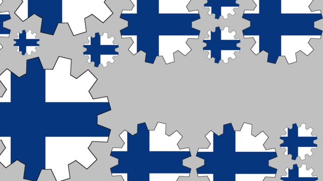 Finnish flag gears shaping euro symbol Digital animation of turning finnish flag gears shaping euro symbol while zooming out for business concept schengen agreement stock videos & royalty-free footage