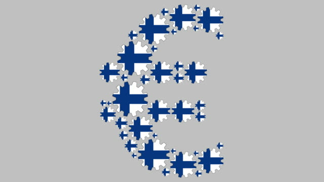 Finnish flag gears shaping euro symbol Digital animation of turning Finnish flag gears shaping euro symbol for business concept schengen agreement stock videos & royalty-free footage