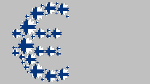 Finnish flag gears shaping euro symbol Digital animation of turning Finnish flag gears shaping euro symbol while moving from left to right for business concept schengen agreement stock videos & royalty-free footage