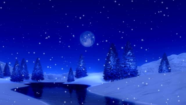 fir skog och frusen sjö på snöiga vinternatt cinemagraph - djupsnö bildbanksvideor och videomaterial från bakom kulisserna