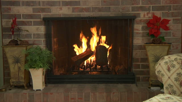 fire 002 720p24 with audio Zoom into fireplace. fireplace stock videos & royalty-free footage