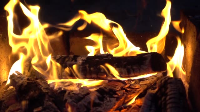 Fire And Firewood Slow Motion