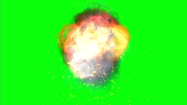 Fire ball on green screen video