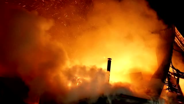 fire. blaze inferno conflagration and combustion. - incendio doloso video stock e b–roll