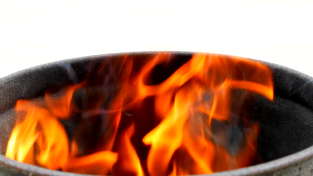 Fire burn with white background video