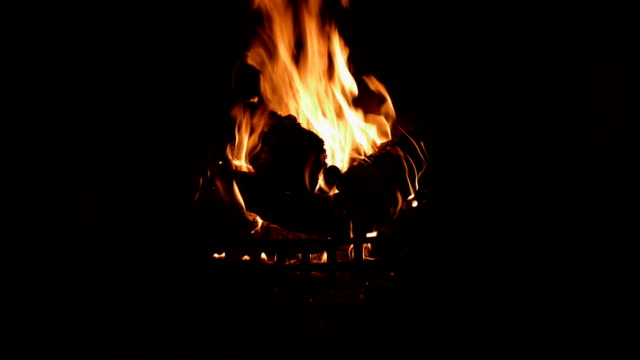 Fire Burning In A Fireplace video
